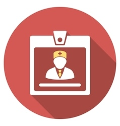 Doctor badge flat round icon with long shadow vector