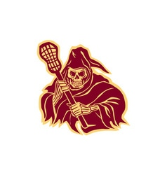Grim reaper lacrosse defense pole retro vector