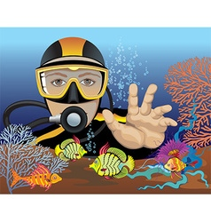 Scuba diver cartoon vector