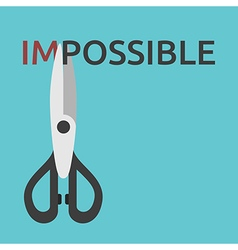 Scissors cutting word impossible vector