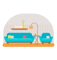 Living room with furniture vector