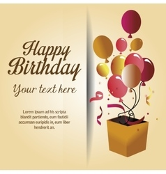 Happy birthday surprise box with balloons vector
