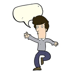 Cartoon rushing man with speech bubble vector