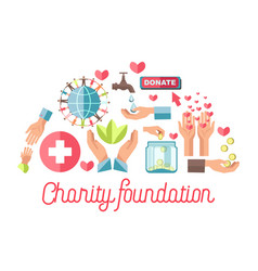 Charity foundation promotional poster with small vector