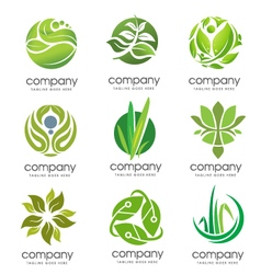 circle green leaf logo set vector image vector image