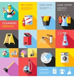 Cleaning Service Decorative Flat Icons Set vector image