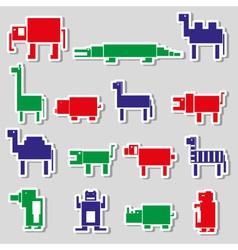 Color square digital simple retro animals stickers vector