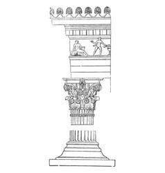Corinthian order shaft vintage engraving vector