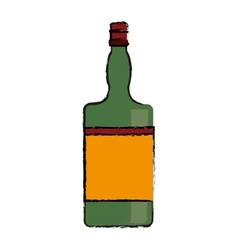 Drawing green bottle whiskey expensive liquor vector