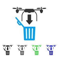 drone drop trash flat icon vector image vector image