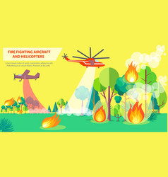 Fire fighting poster with aircraft and helicopter vector