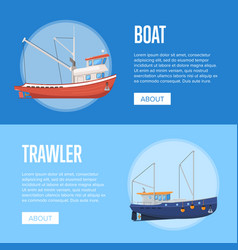 fishing company flyers with boats vector image