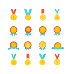 Gold medal award collection isolated vector image