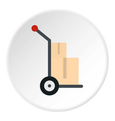 Hand cart with two cardboard boxes icon circle vector