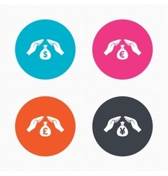 Hands insurance icons Money savings signs vector image vector image