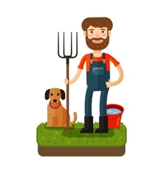 Happy farmer with a pitchfork icon vector