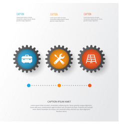 Industry icons set collection of stair equipment vector