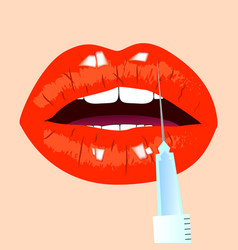 Lips and botox injection red lips beauty concept vector