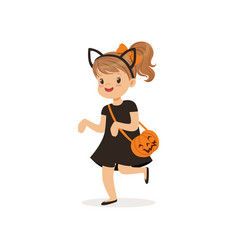 little girl dressed as a black cat cute kid in vector image vector image