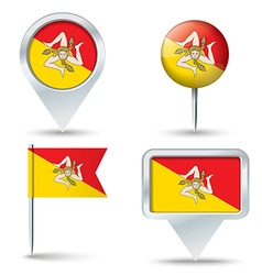 Map pins with flag of sicily vector