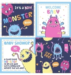 Monster party cards vector image vector image