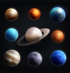 Planet realistic icon set vector