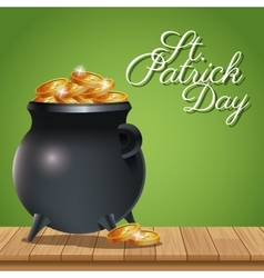 Poster st patrick day pot coins gold on wooden vector