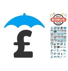 Pound finances roof icon with 2017 year bonus vector