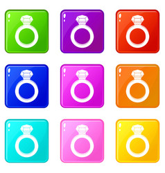 Ring with gemstone icons 9 set vector