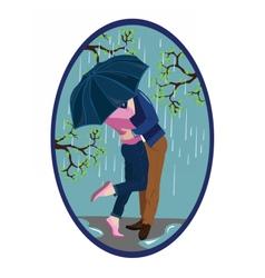 Romantic couple kissing in the rain vector