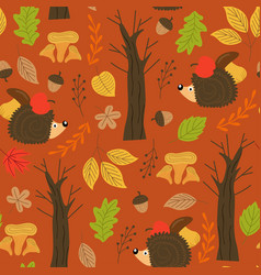 Seamless autumn pattern with hedgehog vector