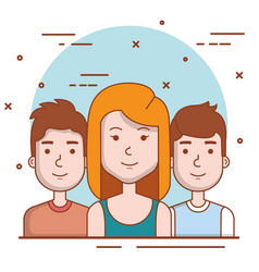 set of people human woman and men young faces vector image