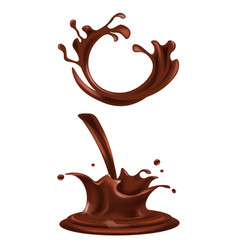 Splashes and drops of dark chocolate vector