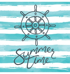Summer time card with helm vector