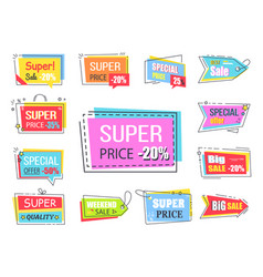 Super price with 20 off promotional logotypes vector