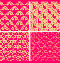 Valentine day set of seamless patterns ornate vector