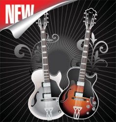 vintage retro guitar vector image