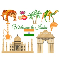 Welcome to India Indias traditional symbols icons vector image vector image