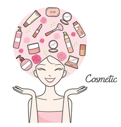 Young woman with cosmetics beauty icons on head vector