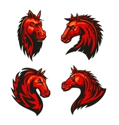 Fire horses mascots with tribal flame ornaments vector
