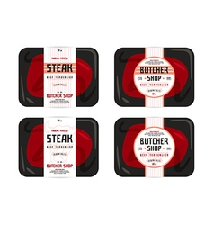 Butchery and steak label vector