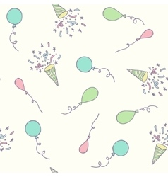 Birthday party seamless pattern with balloons and vector image