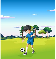 A boy playing soccer at the forest vector image