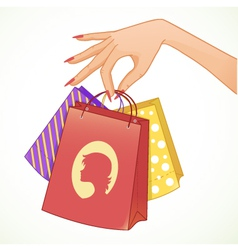 Woman hand with shopping colorful decorative bags vector image