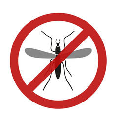 Stop mosquito insect red restriction sign eps10 vector