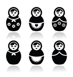 Russian doll retro babushka icons set vector