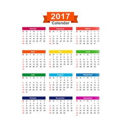 2017 Year calendar isolated on white background vector image vector image