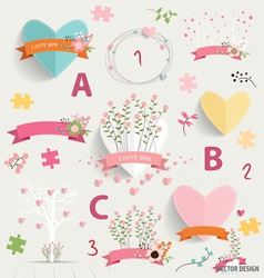 Spring floral background with cute floral bouquets vector