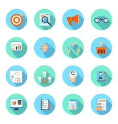 Marketers flat icons set vector
