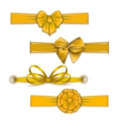 Set of elegant silk colored bows vector